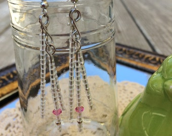 Dangle Earrings with Pink Swarovski Crystal Accent