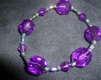Purple bracelet and drop earring set