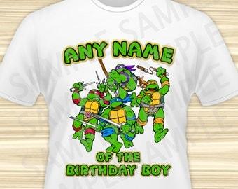Teenage Mutant Ninja Turtles  Iron On Transfer. TMNT Any Name of the Birthday Boy Iron On. Ninja Turtles Birthday Shirt. DIGITAL FILE.