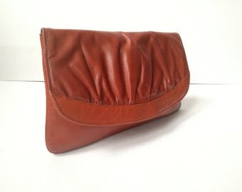 Vintage Brown leather clutch Women leather business bag Classic leather purse Evening leather bag Handbag clutch