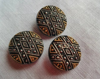 Gold and silver on black glass buttons.  Set of 3.  1.8 cm Glass/Gold/Silver/Black/Buttons/Set/Shank buttons/Geometric design/Sewing/Clothes