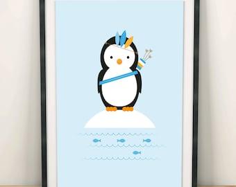 Print poster, nursery decor, nursery wall art, nursery poster, kids poster, kids room, brave penguin