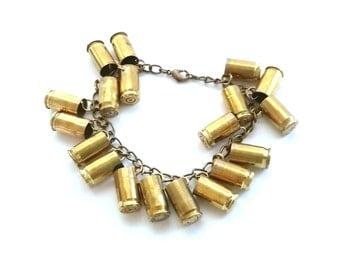 "Bullet Jewelry- Brass Oxidized 7.5"" Charm Bracelet with 380 Caliber Bullets"