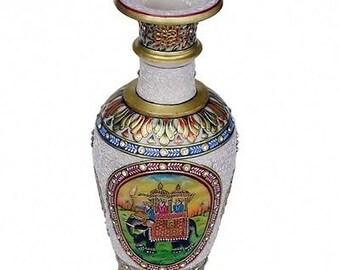 Merveilleux Antique Rare Vase Indoux Ambabari Marbre Pierres Semi-Precieuses( Voir Porcelaine Chinoise )