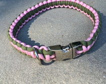 Simple Braid Paracord Dog Collar Two Color (Metal Buckle)