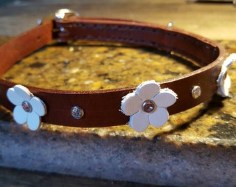 Crystal Daisy Leather Dog Collar