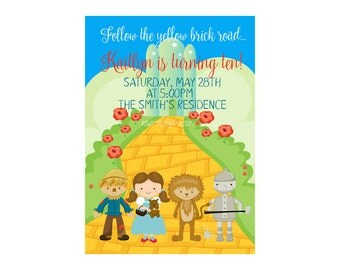 Digital Wizard of Oz Birthday Invitation, Wizard of Oz Birthday Invite, Party Invite, Childs Invitation - Printable Invitations