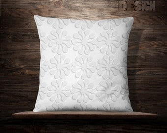 Daisy Pillow | White Pattern | White Throw Pillow | White Pillow Case | White Throw Pillow | White Cushion | Cushion | Daisies | Flowers