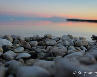 Sunset Print, Beach Print, Nature Photography, Rocks, Sunset, Manitoba, Lake, Nature