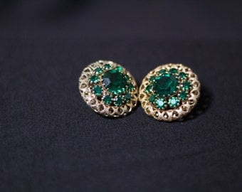 Vintage Gold Tone and Emerald Colored Clip Earrings