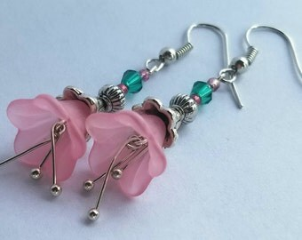 Pink and Emerald Earrings