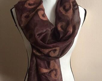 Classic Brown Felt Scarf / Shawl / Gift for Her / Felt & Silk Scarf