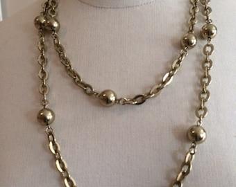 Vintage Gold Ball & Chain Versatile Necklace