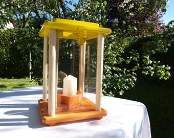 Lantern, wooden, yellow/orange, handmade, height 28 cm
