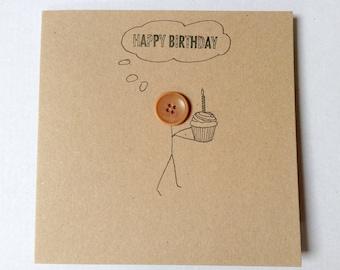 Button birthday cards. Cute button card. Handmade button cards. Brown kraft celebration button cards. Hand drawn  stick figure button cards.
