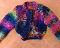 Sassibaby bolero, 6 months to 12 months, neon pinks, neon green, cardigan, hand knitted