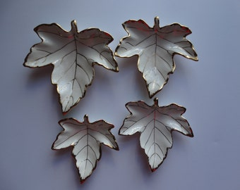 White Gilded Leaf Dishes
