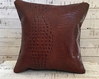 """Throw Pillow Covers 16""""x16"""" Leather Gator Print, Brown"""