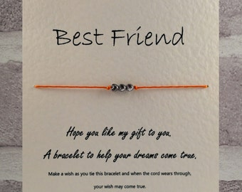 Handmade Best friend Tibetan Silver Charm Wish Bracelet & Message Card.   Handmade By Erin