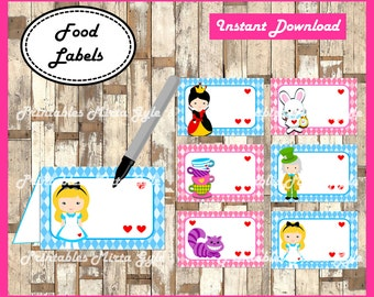 Alice in Wonderland Food labels, printable Alice in Wonderland party food tent cards , Alice in Wonderland food tent cards