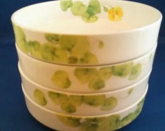 Lot (4) Mikasa Bone China Water Lillies Yellow Stacking Berry Bowls
