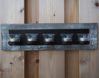 Barn board backed candle holder