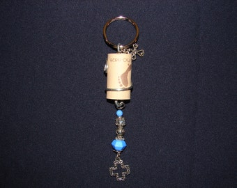 Upcycled Beaded Wine Cork Keychain