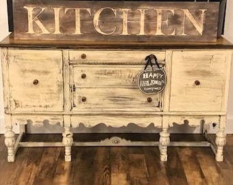 Large wood rustic distressed kitchen sign