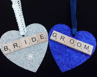 Set Of Two Bride And Groom Scrabble Hearts