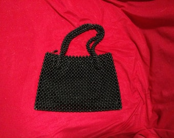 60s Black Bead Bag - Japan - Metal Zipper - 1960s Real Vintage Beaded Handbag - Mad Men Era Authentic Vintage Purse