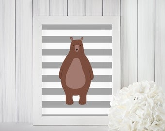 Bear with stripes print, Woodland Creatures Nursery, Forest Animal Print, Grey Stripes