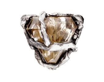 Dendritic topaz Silver ring
