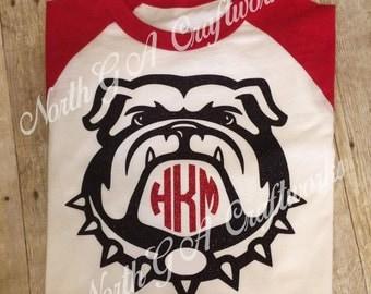 Ladies Shirt Bulldog UGA University of Georgia Game Day Raglan T-shirt Personalized with Monogram Womens