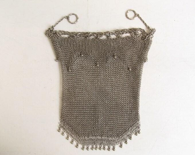 Antique silver purse, mesh chainmail drawstring evening bag, handbag, LARP re-enactment purse, theatre movie photography