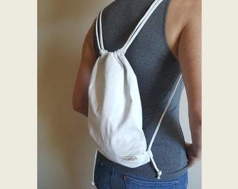White Leather Medium Backpack