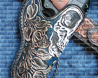 Tooled 1911 leather holster skull floral