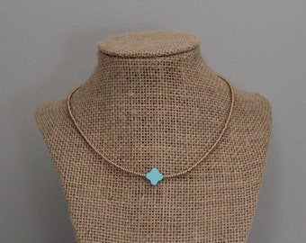 Blue Clover Necklace