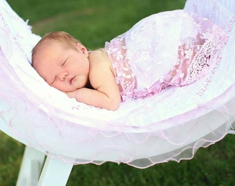 Light pink newborn lace wrap. Photo prop