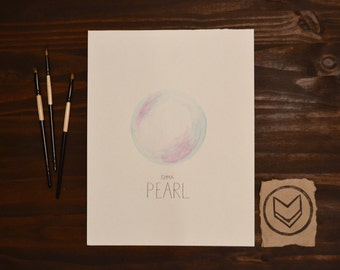 Custom June Watercolor Birthstone - Pearl