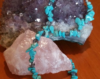 Crystal chip bracelet turquoise w/crystal beads