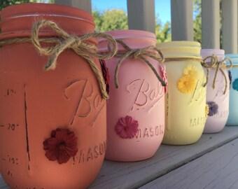 Flower mason jar- mason decor- home decor