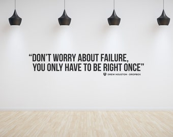 Entrepreneur motivational tech startup wall or window sticker 130cm - Drew Houston. Available in black or white