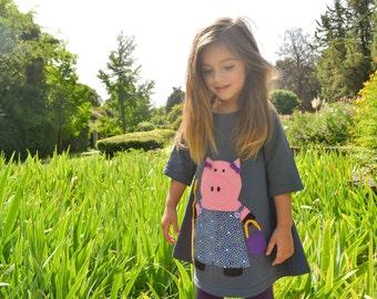 RETRO PIG-Pig Dress, Girl's Dress with Pig, Retro dress - Toddler Dress or Girls Dress- Pig Applique - Grey dress