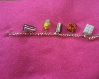 Fimo polymer clay cakes & sweets charm bracelet handmade