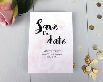 Watercolour Wedding Save The Date Card, Pink Wedding Save The Date Invite, Calligraphy Save The Date Card