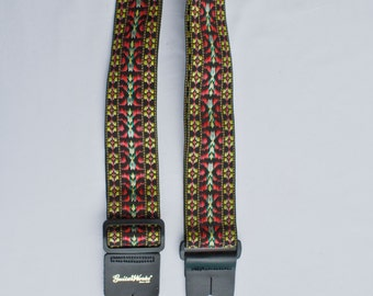 Guitar Strap Black Burgundy Golden 60's Hootenanny Woven Nylon Leather Ends Fits All Acoustic And Electric And Bass Made In USA Since 1978