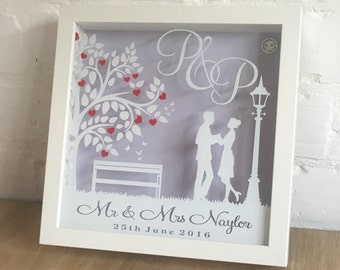 Personalised Lampost Wedding Shadow Frame