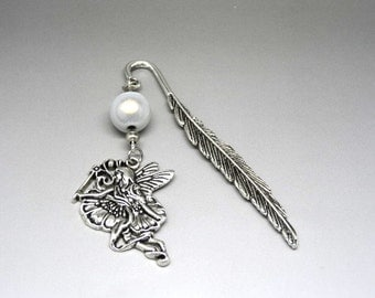 Bookmark fairy feather silver