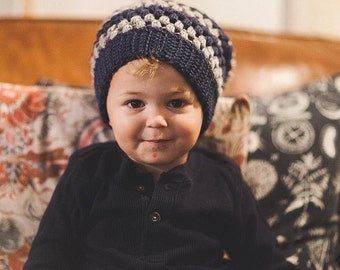 Child's size Crochet Puff Beanie--Navy and Gray