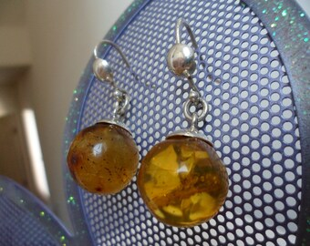 Authentic Dominican Amber Circular Sphere Earrings in 925 Silver